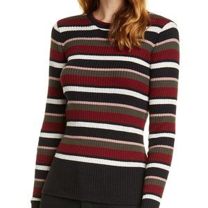 Frame Striped Ribbed Long Sleeve Metallic Sweater